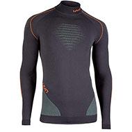 Męska koszulka termoaktywna UYN Evolutyon uw Turtle Neck Charcoal/Green/Orange sh 2021