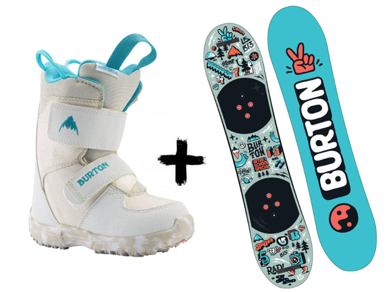 Burton White Zastaw + Deska Special School + Grom 2020 wiązania After Mini Buty