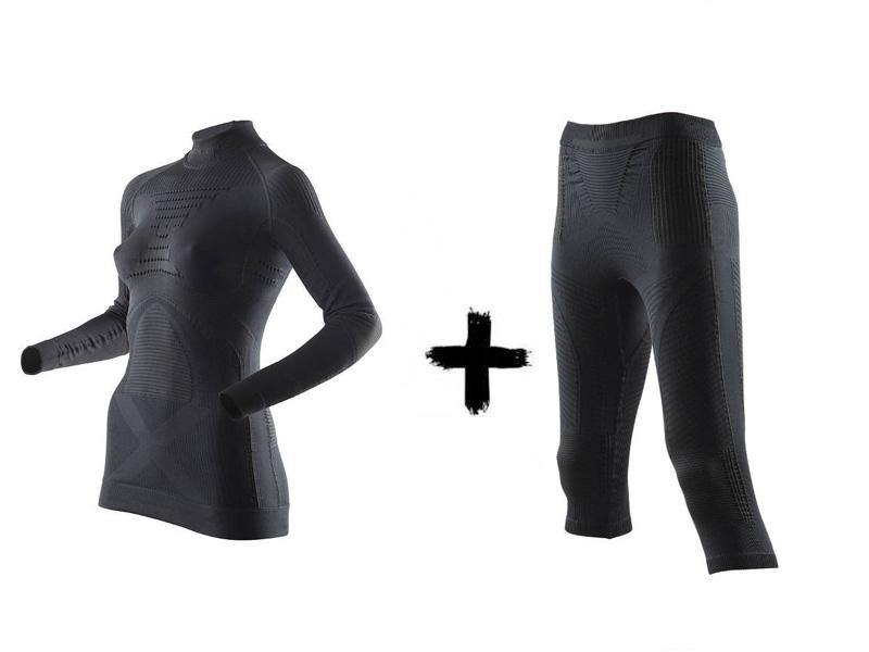 Accumulator Energy Spodnie + Black damski EVO Lady termoaktywny z golfem Zestaw Koszulka 2019 B026 X-Bionic