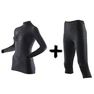 Zestaw termoaktywny damski Koszulka z golfem + Spodnie X-Bionic Energy Accumulator EVO Lady B026 Black 2019