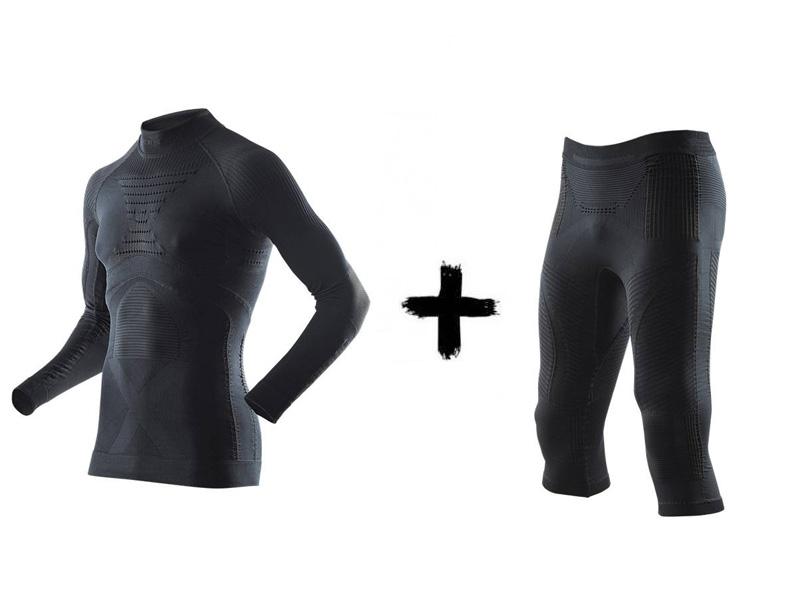 Black X-Bionic Accumulator EVO Man Energy Zestaw 2019 golfem z Spodnie B026 Koszulka termoaktywny +