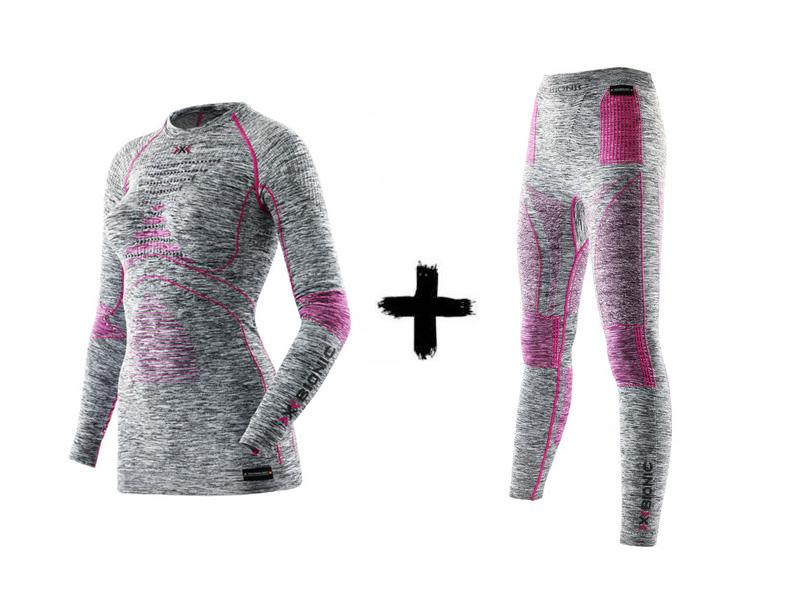 Zestaw G739 melange light grey Koszulka 2019 EVO Energy Women + Accumulator Spodnie z termoaktywny X-Bionic raspberry golfem