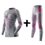 Zestaw termoaktywny Koszulka z golfem + Spodnie X-Bionic Energy Accumulator EVO Women light grey melange raspberry G739 2019