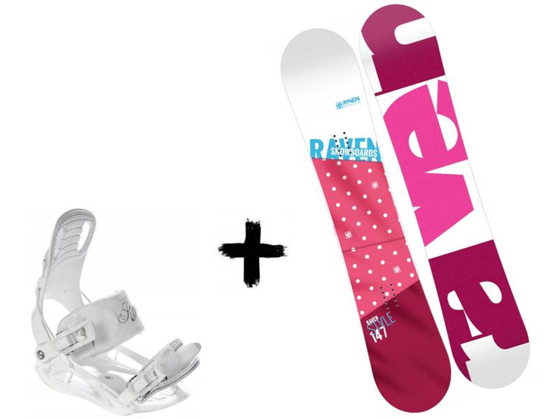 White + 2020 Zestaw Deska Raven Luna Wiązania  Style Pink