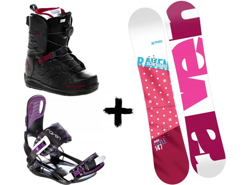 Starlet Pink + Style Northwave Black/Violet Spin Zestaw + wiązania deska Helix buty Raven 2020
