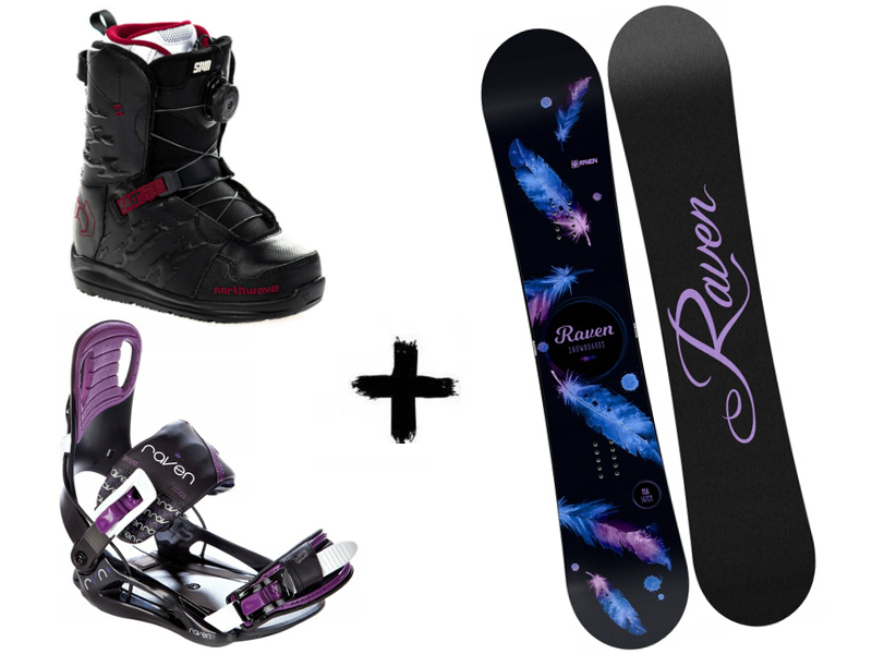 Northwave Black + Mia Helix Starlet Raven buty wiązania Spin 2020 deska + Zestaw Black/Violet