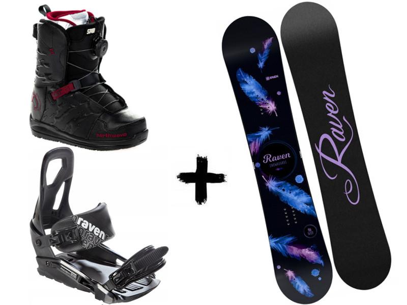 Zestaw Spin deska Raven Black Northwave + 2020 Helix Mia wiązania Black + buty S200