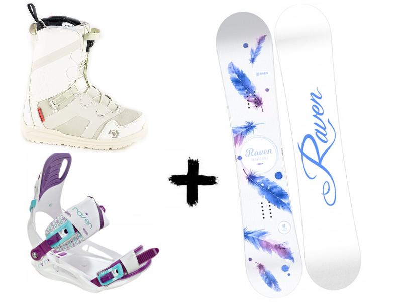 White deska Opal + buty + Northwave White SL Mia Raven Zestaw 2020 wiązania Starlet White/Blue/Violet